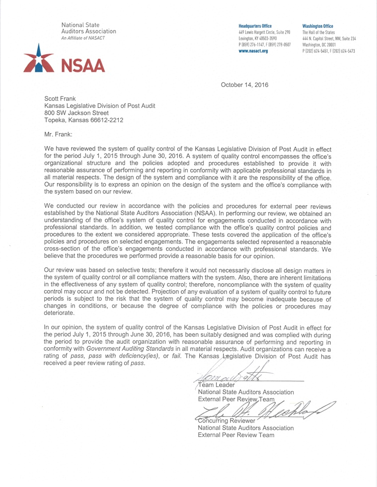 """National State Auditors Association letter of review, providing the highest rating of """"pass""""."""